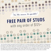 Free Studs with any purchase over $125 until 12/31/14