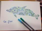 Zen Tangle Dolphin