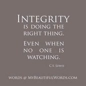 Character Quality for February - Integrity