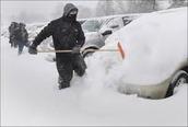 Shoveling a lot of snow