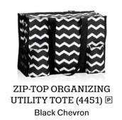 Zip Top Organizing Utility Tote in Black Chevron