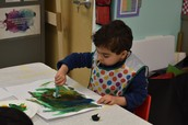 Dawud painting with cotton balls