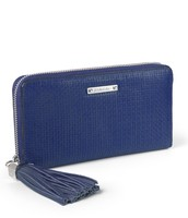 Cobalt woven leather wallet - SOLD