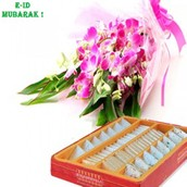 E-id 10 Orchid with Greens with 1Kg Mix Sweet Box
