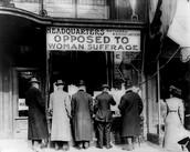 Opposing to woman