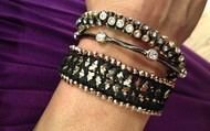Arm party in gold and hematite