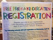 LISD P-k and Kinder Registration 2015-2016 School Year