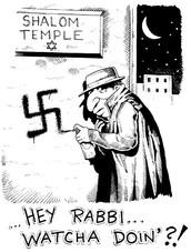 Jewish Leader putting Nazi sign on Jewish temple