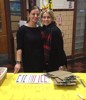 Mrs. Kolesar and Mrs. Sloginski greeted our 2015 literacy night participants.