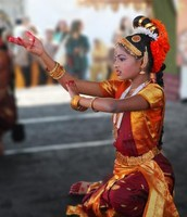 A young girl celebrates the Indian festival of Diwali in California.