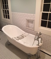 Classic look black and white subway tile