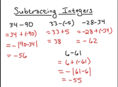 Subtracting Integers Rules