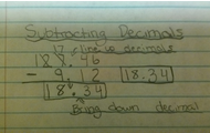 Subtracting decimals