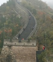 One fifth of the way up the Great Wall. Tom says they made it to top.
