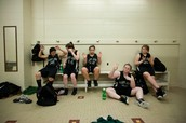Lady Jags in locker room