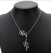 Silver Plated Double Leaves Clavicle Necklace Metal Chain Necklace $7.99