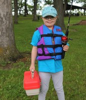 young girl ready to fish