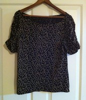 1. Old Navy Black with Tan Dots, Ruched sleeves