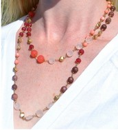 Aileen Necklace Pink and Coral $30