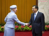 Queen of Denmark Margrethe II meets with Chinese Premier Li Keqiang