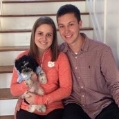 Me, my boyfriend, and my pup, Sully.