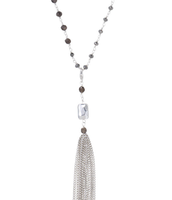 "Gitane Tassel Necklace 47.5"" long, silver"