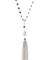 "Gitane Tassel Necklace 47.5"" long, silver"