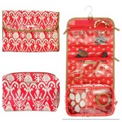 Hang On Travel Case, Red Ikat. SOLD