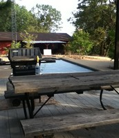 Pool with gas BBQ and table