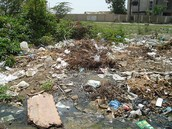 Cloacas contaminadas por basura.