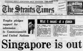 Newspapers reporting about Singapore's independence