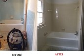 Before and after of a relazed tub and tile bathroom