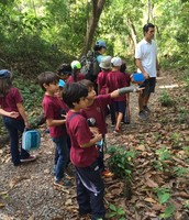 First graders searching for wildlife.