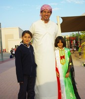 Blair with students on UAE National Day