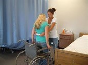 Transferring patient from wheel chair using giant belt