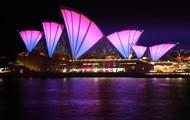 The Sydney opera house lit up