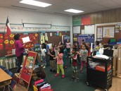Kinder Panthers in Ms. Skeete's class use total physical response as they practice vocabulary!