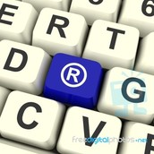 Registered symbol Computer key stock image