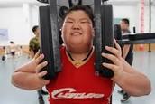Obese child exercising!