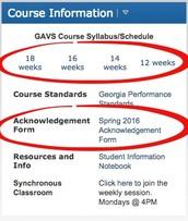 Schedules & Spring 2016 Acknowledgement Form