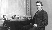 Thomas Edison with his Phonograph