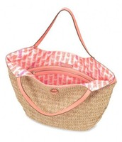 Riviera Tote in Natural/Coral