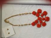 Olivia bib necklace, Gold vintage studs