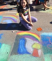 Here are some pictures from Art Club last year at the chalk walk!