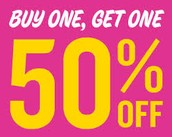 Clothes Buy One, Get one 50% Off