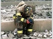 One of the fire fighters in the rubble of the towers