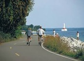 People riding bikes on the island