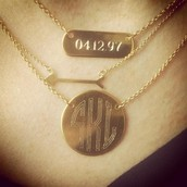 A classic monogram necklace and the date for your first born child