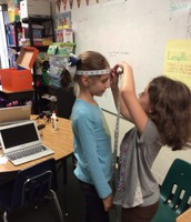 Mrs. Morris's class is measuring and making connections to their height.