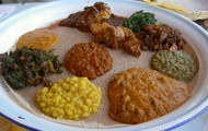 A delicious variety of Ethiopian food!!